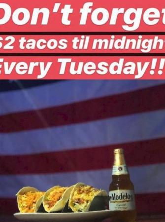 Every Tuesday $2 tacos till midnight at The Local